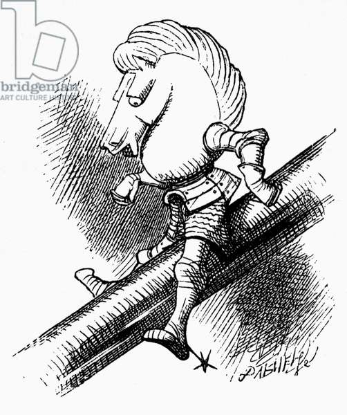 CARROLL: LOOKING GLASS 'The White Knight is sliding down the poker.' Wood engraving after Sir John Tenniel for the first edition of Lewis Carroll's 'Through the Looking Glass,' 1872.