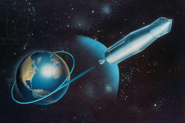 APOLLO 11, 1969 Conceptual artwork of the Apollo 11 spacecraft entering lunar trajectory. Illustration, c.1969.