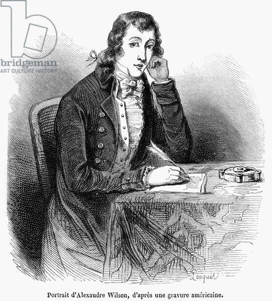 ALEXANDER WILSON (1766-1813) American (Scottish-born) ornithologist. Wood engraving, French, 19th century.