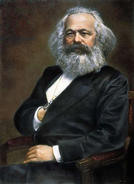 KARL MARX (1818-1883) German political philosopher. Oil over a photograph.
