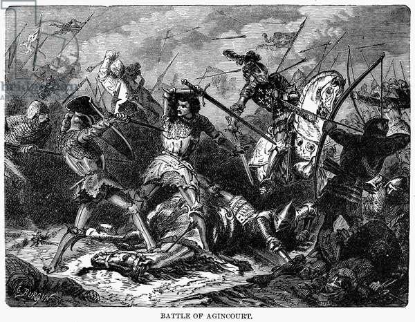 BATTLE OF AGINCOURT, 1415 Battle of Agincourt, France, 25 October 1415. Line engraving, 19th century.