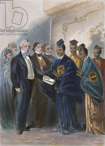 BUCHANAN: AMBASSADORS The reception at the White House by President James Buchanan, 17 May 1860, for visiting Japanese ambassadors: contemporary American engraving.