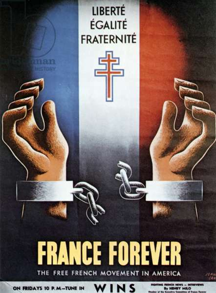 'France Forever': American poster for the Free French Movement in America, 1940s (lithograph)