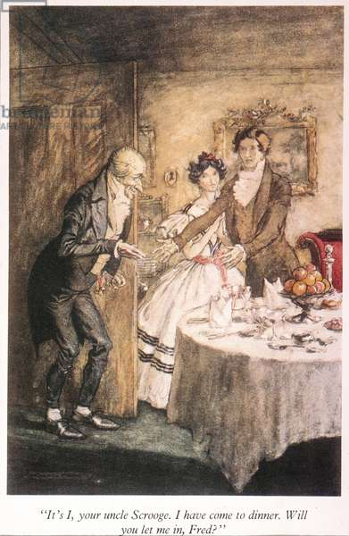 "A CHRISTMAS CAROL Scrooge arriving for Christmas dinner with his nephew, Fred: illustration by Arthur Rackham for Charles Dickens' ""A Christmas Carol."""