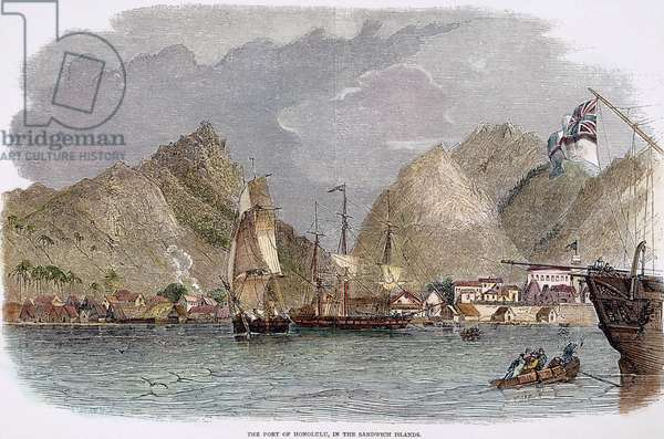 WHALERS IN HAWAII, 1849 Whalers in the port of Honolulu in the Sandwich Islands (present day Hawaii). Wood engraving, English, 1849.