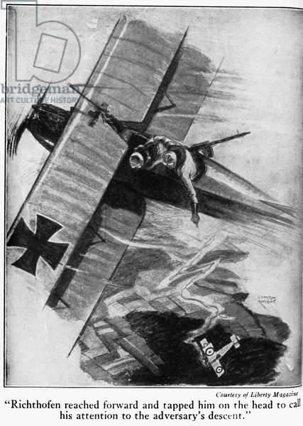 MANFRED VON RICHTHOFEN (1892-1918). Known as the Red Baron. German aviator. Richthofen calling the pilot's attention to his downing of an Allied fighter plane over France while serving as an observer during World War I, c.1915. Illustration by Clayton Knight from 'The Red Knight of Germany,' a biography by American journalist Floyd Phillips Gibbons, 1927.
