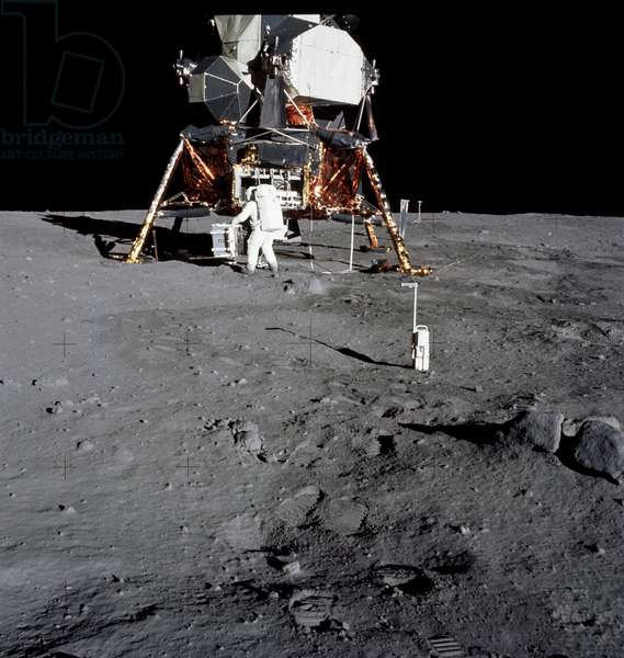 APOLLO 11, 1969 Astronaut Edwin E. Aldrin Jr. on the surface of the moon during the Apollo 11 extravehicular activity; a 35mm stereo close-up camera is in the foreground. Photograph by Neil Armstrong, 20 July 1969.