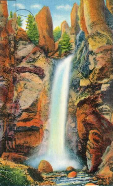 YELLOWSTONE NATIONAL PARK Tower Fall on Tower Creek in Yellowstone National Park, Wyoming. Postcard, American, 1937.