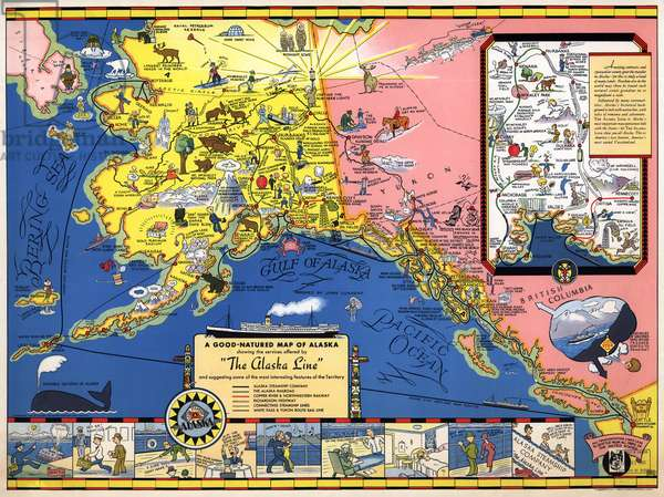 MAP: ALASKA, 1934 'A good-natured map of Alaska, featuring the services offered by