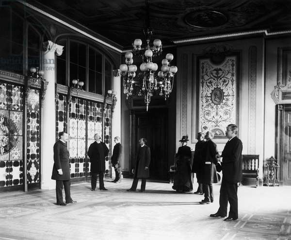 WHITE HOUSE: TIFFANY GLASS The newly installed Tiffany glass screens separating the entrance Hall and Cross Hall in the White House. Photograph by Frances Benjamin Johnston, 1890s.