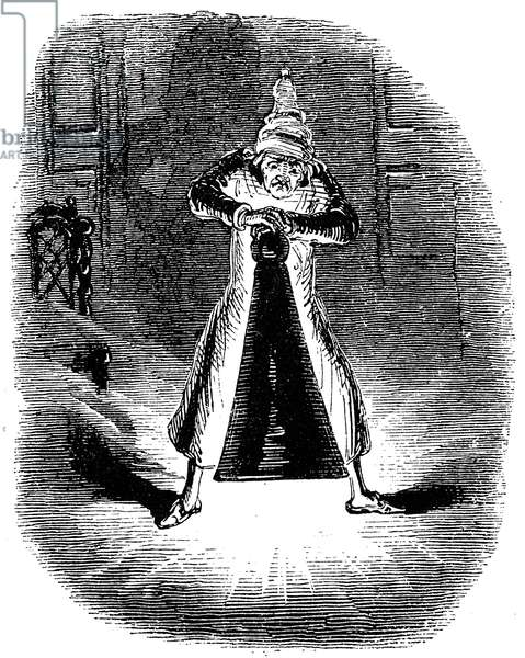 DICKENS: CHRISTMAS CAROL 'Scrooge extinguishes the first of the Three Spirits.' Etching by John Leech for the first edition of Charles Dickens' 'A Christmas Carol,' 1843.