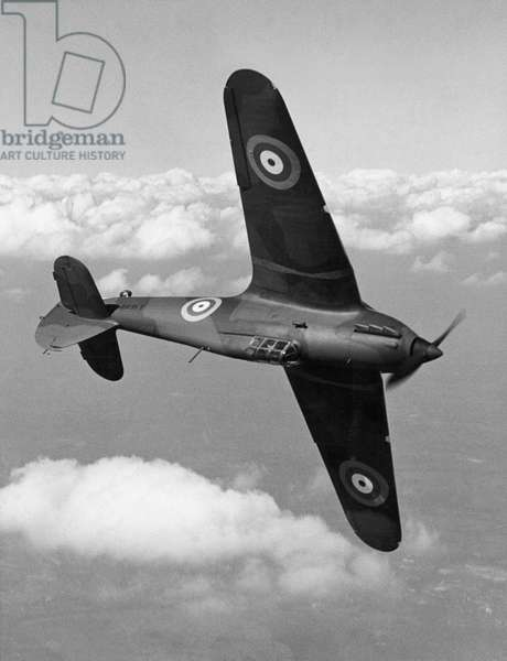 WWII: BRITISH HURRICANE A Hawker Hurricane fighter photographed in August 1940 while banking.