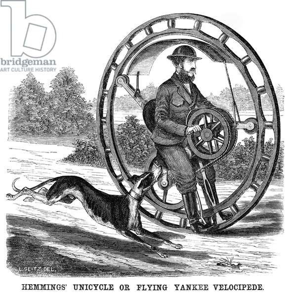 HEMMINGS' UNICYCLE, 1869 An invention also known as 'Flying Yankee Velocipede.' Wood engraving, American, 1869.
