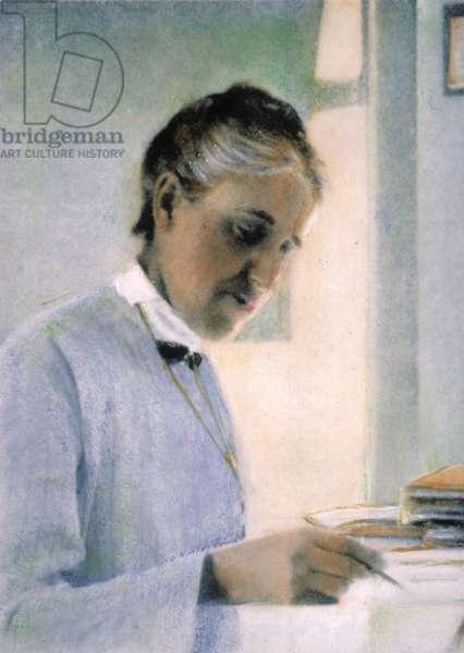 HENRIETTA SWAN LEAVITT (1868-1921). American astronomer: oil over a photograph, n.d.
