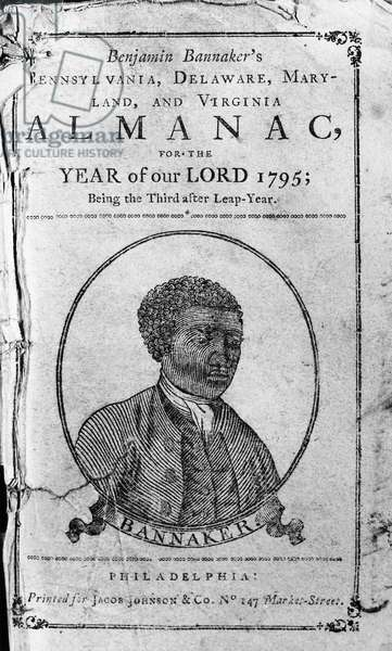 BENJAMIN BANNEKER (1731-1806). American mathematician. Woodcut portrait on the title page of Banneker's 'Almanack' for 1795.