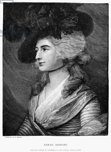 SARAH SIDDONS (1755-1831) Née Kemble. British actress. Wood engraving, 1893, by Thomas Johnson after a painting, 1785, by Thomas Gainsborough.