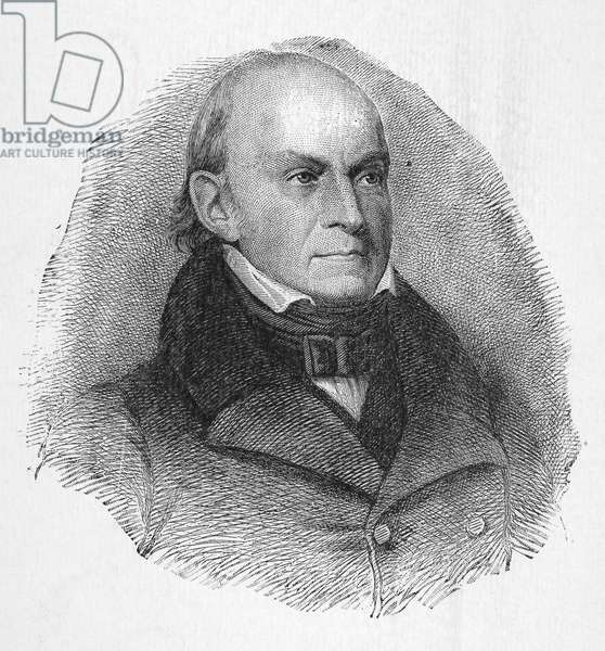 JOHN QUINCY ADAMS (1767-1848). Sixth President of the United States. Etching and engraving, 19th century.