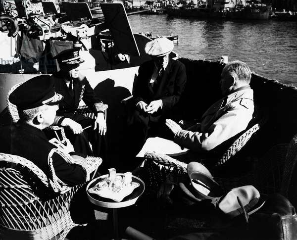 FRANKLIN D. ROOSEVELT (1882-1945). 32nd President of the United States. Roosevelt with his chiefs of staff on board the USS 'Quincy' off of Malta, en route to the Yalta Conference, 2 February 1945.