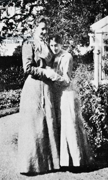 VIRGINIA WOOLF (1882-1941) English writer. Photographed, right, 1902, with Violet Dickinson.