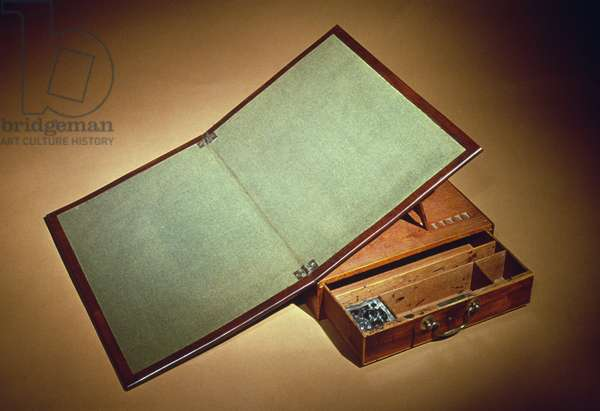 THOMAS JEFFERSON: DESK Mahogany portable writing desk designed by Thomas Jefferson and built by Benjamin Randolph, c.1775.