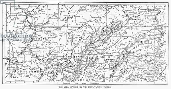 JOHNSTOWN FLOOD, 1889 Map of the area covered by the floods on 31 May 1889. Line engraving from a contemporary American newspaper.