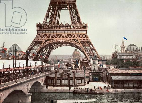 PARIS: EIFFEL TOWER, c.1900 A view of the Eiffel Tower and a general view of the grounds of the Exposition Universelle of 1900 in Paris, France. Photochrome, c.1900.