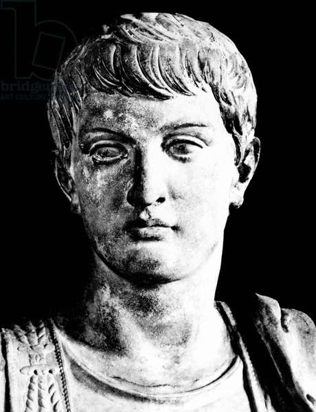 NERO (37-68 A.D.) Emperor of Rome, 54-68 A.D. Head of a contemporary Roman statue of the youthful Nero.