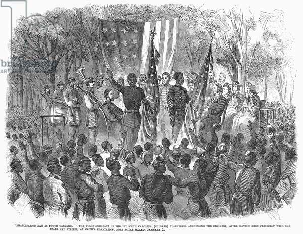 EMANCIPATION, 1863 1st South Carolina (Colored) Volunteer Regiment celebrates the emancipation of the slaves at Port Royal Island, 1 January 1863. Contemporary American wood engraving.