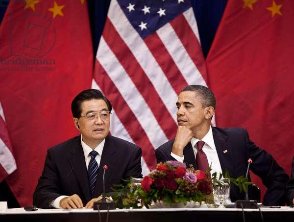 HU AND OBAMA, 2011 President Hu Jintao of China and President Barack Obama at a meeting in Washington, D.C. Photograph, 19 January 2011.