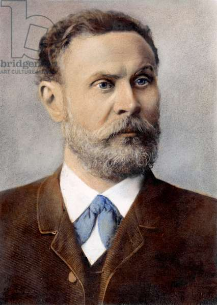OTTO LILIENTHAL (1848-1896) German aeronautical engineer. Oil over a photograph, n.d.