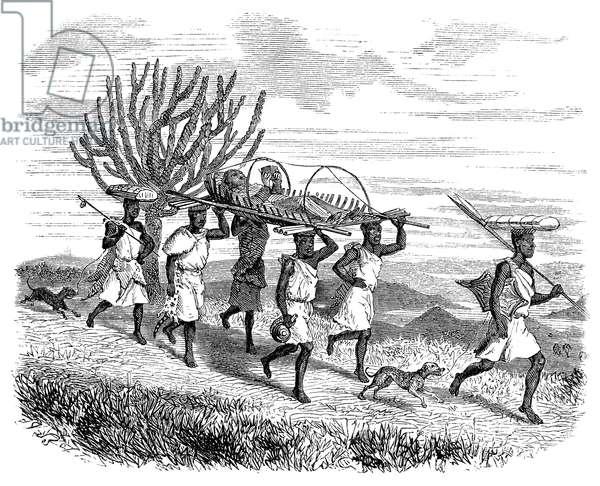JAMES AUGUSTUS GRANT (1827-1892). British soldier and explorer in Africa. Grant leaving Karague, Uganda, in 1862. Wood engraving, 1864.