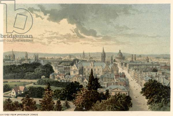VIEW OF OXFORD A view of Oxford from Magdalen Tower. Lithograph, c.1885.