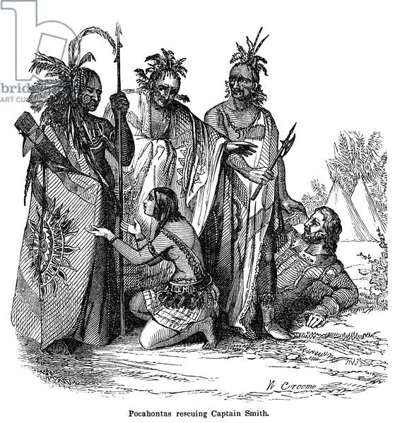 POCAHONTAS (1595-1617) Native American princess. Pocahontas begging her father Powhatan and his warriors to spare the life of Captain John Smith, late December 1607. Wood engraving, c.1840.