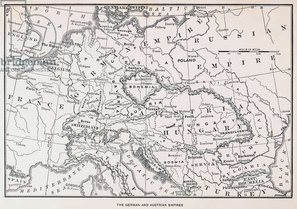 MAP: GERMANY AND AUSTRIA The German and Austrian Empires. Line engraving, 19th century.