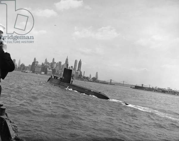SUBMARINE: USS NAUTILUS The USS Nautilus, SSN-571, the world's first nuclear submarine, photographed in New York Harbor, c.1956.