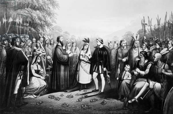 POCAHONTAS (1595?-1617) Native American princess. The wedding of Pocahontas and John Rolfe at Jamestown, Virginia, April 1614. Lithograph, 1867.