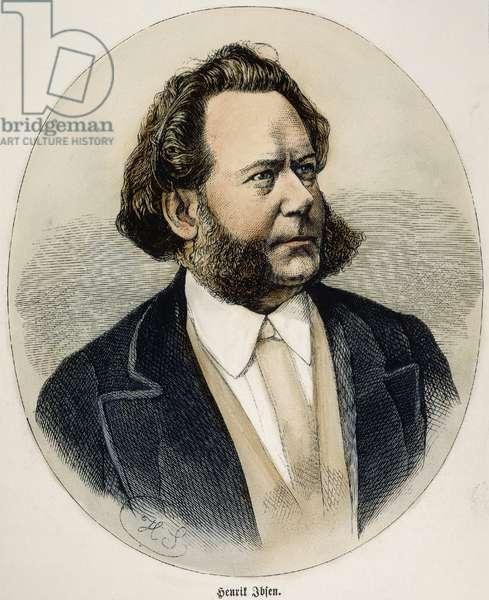 HENRIK IBSEN (1828-1906). Norwegian poet and dramatist. Wood engraving, 1870.