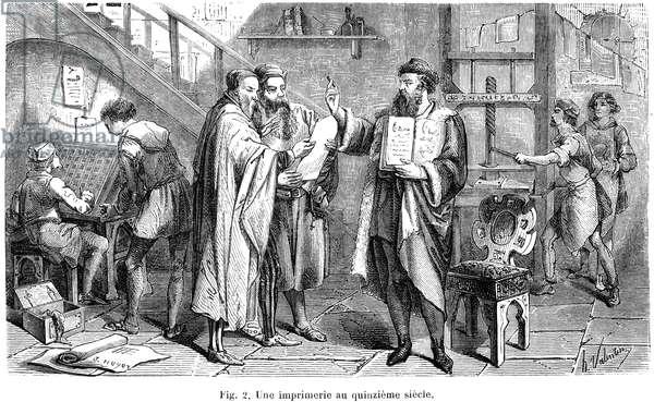 JOHANN GUTENBERG ( c.1400- c.1468). German printer. At his printing shop in Mainz. Wood engraving, French, 19th century.