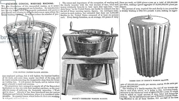 WASHING MACHINE, 1860 French's Conical Washing Machine. Wood engraving from an American magazine of 1860.