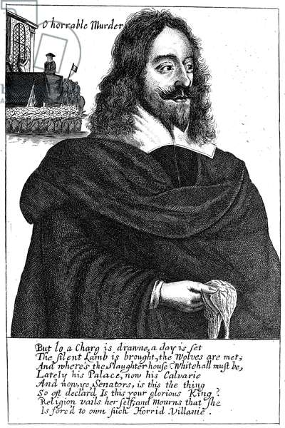 CHARLES I (1600-1649) King of Great Britain and Ireland, 1625-1649. Line engraving, English, 17th century.