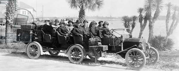 LIMOUSINE, 1920s The Daytona to DeLand Ford Express in Florida, manufactured by the Ford Motor Company by welding together two Ford automobiles.
