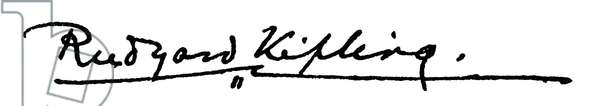 RUDYARD KIPLING (1865-1936). English writer. Autograph signature.