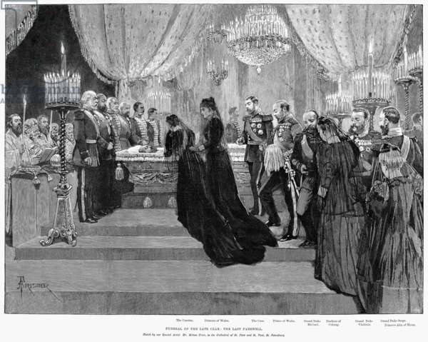 ALEXANDER III (1845-1894) Czar of Russia, 1881-1894. The funeral of Alexander III in St. Petersburg. In attendance are Maria Feodorovna, the Princess of Wales, Czar Nicholas II, the Prince of Wales, Grand Duke Michael, Duchess of Coburg, Grand Duke Vladimir, Grand Duke Serge, and Princess Alix of Hesse. Engraving, 1894.