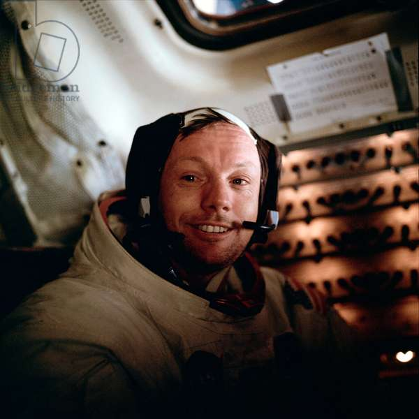 NEIL ARMSTRONG (1930-2012) American astronaut. Photographed aboard the Lunar Module during the Apollo 11 mission, 20 July 1969.