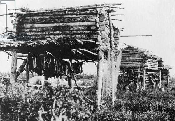 ALASKA: FISH DRYING, c.1917 An Eskimo storage facility for drying fish in Alaska. Photograph, c.1917.