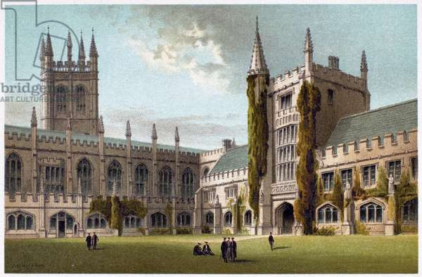 OXFORD: MAGDALEN COLLEGE The chapel and library at Magdalen College, Oxford. Lithograph, c.1885.