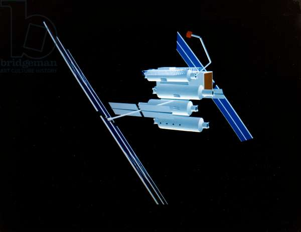 BOEING SPACE STATION, c.1983 Computer graphic of a space station with four modules, designed by the Boeing Aerospace Company for NASA, c.1983.