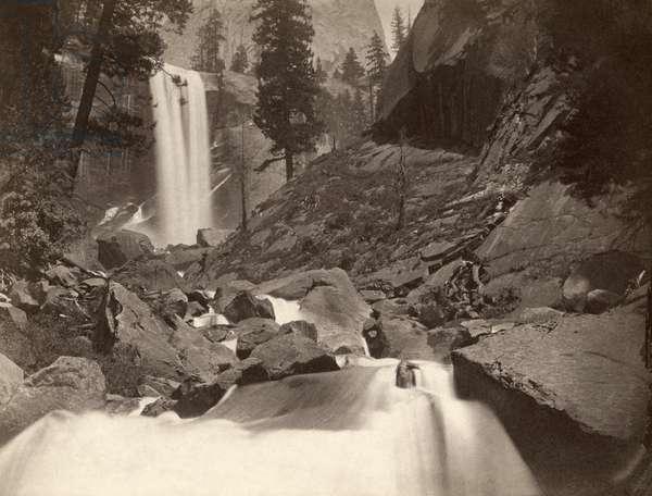 YOSEMITE: VERNAL FALL Scenic view of Vernal Fall in Yosemite National Park, California. Photograph by Carleton E. Watkins, c.1860.