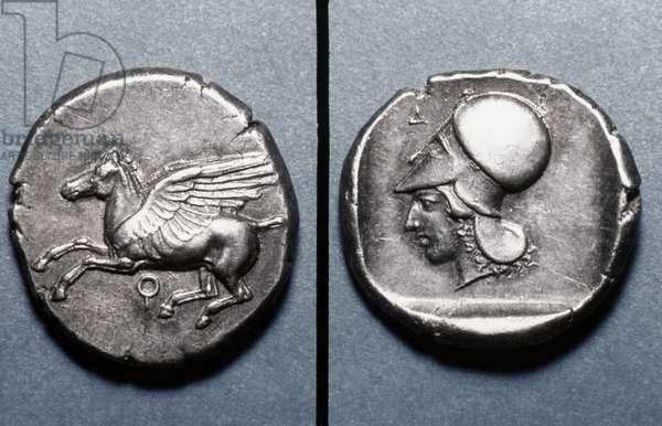 ATHENA & PEGASUS COIN Silver stater of Corinth, c400 B.C. Obv: Pegasus; rev: head of Athena.