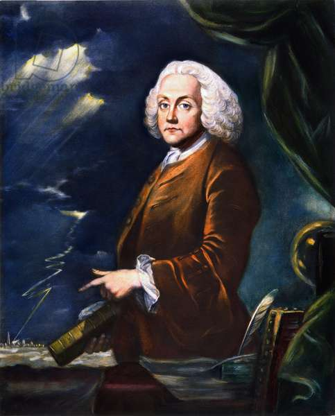 BENJAMIN FRANKLIN (1706-1790) American printer, publisher, scientist, inventor, statesman and diplomat. Mezzotint, 1761, after a painting by Benjamin Wilson.